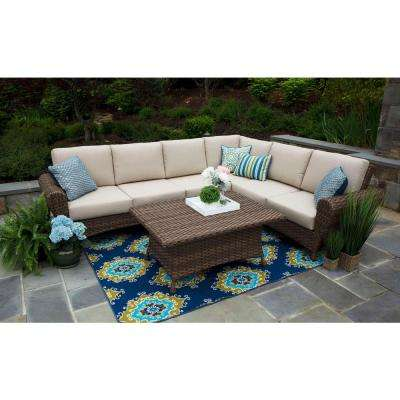 Aspen 5-Piece Resin Wicker Outdoor Sectional with Sunbrella Spectrum Sand Cushions