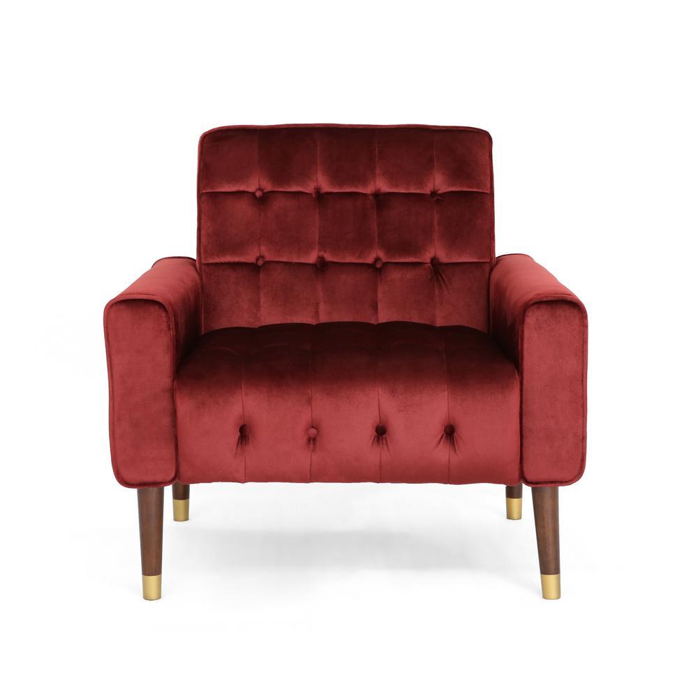Noble House Bourchier Modern Glam Button Tufted Garnet Velvet Armchair with