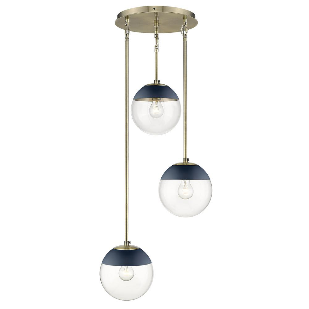 Golden Lighting Dixon 3-Light Pendant in Aged Brass with Clear Glass and Navy Cap