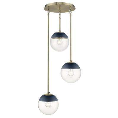 Dixon 3-Light Pendant in Aged Brass with Clear Glass and Navy Cap