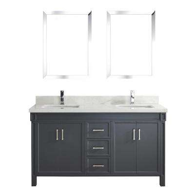 Serrano 63 in. W x 22 in. D Vanity in Pepper Gray with Engineered Vanity Top in White with White Basin and Mirror