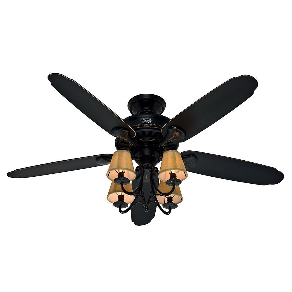 Hunter Cortland 54 In Indoor Basque Black Ceiling Fan With Light