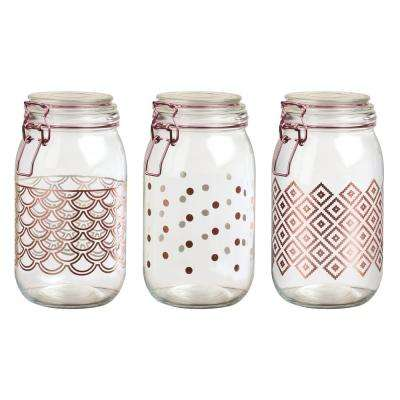 Pasadena 3-Piece Glass Hermetic Storage Canister Set with Rose Gold Accents