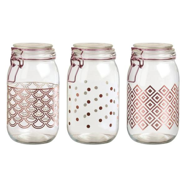 Amici Home Pasadena 3-Piece Glass Hermetic Storage Canister Set with Rose Gold Accents