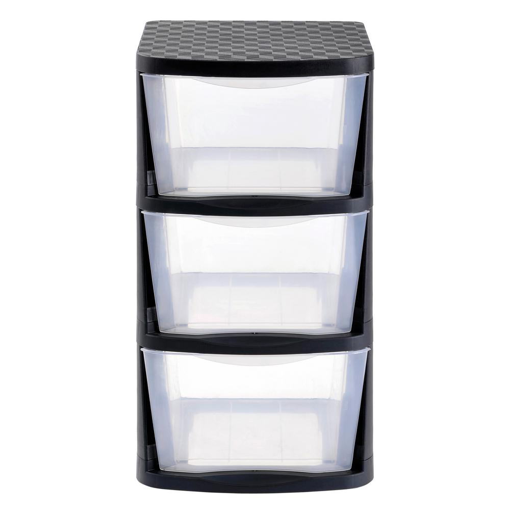 3 Drawer Clear Plastic Storage Tower with Black Frame