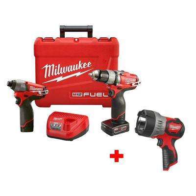 M12 FUEL 12-Volt Cordless Lithium-Ion Brushless 1/2 in. Drill/Impact Combo Kit with Free M12 LED Spotlight