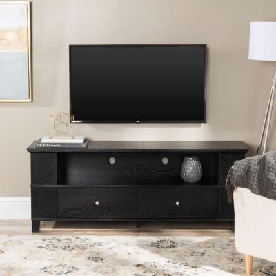 Columbus 60 in. Black Wood TV Stand with 2 Drawer Fits TVs Up to 65 in. with Adjustable Shelves