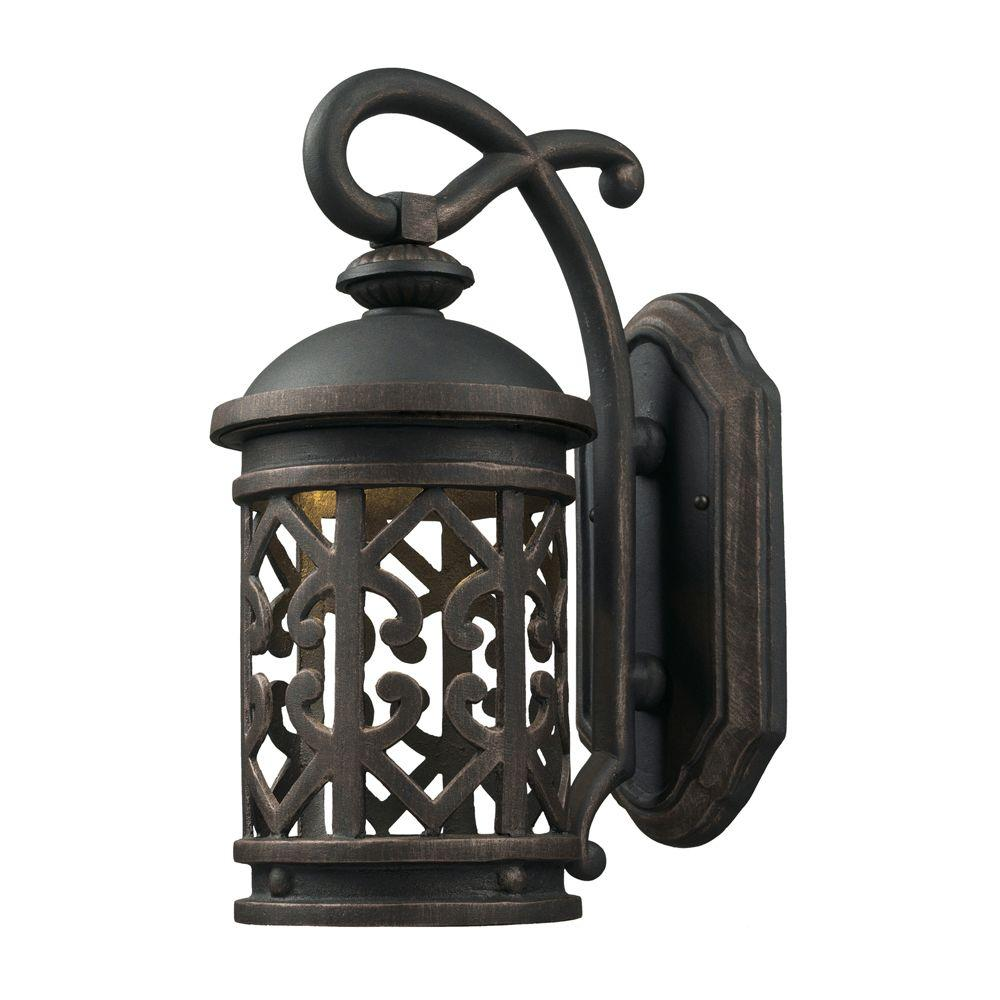 Titan Lighting 1-Light Brushed Antique Brass Outdoor Wall Sconce-DISCONTINUED