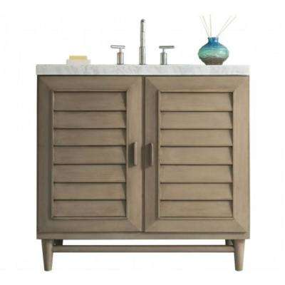 Portland 36 in. W Single Vanity in Whitewashed Walnut with Marble Vanity Top in Carrara White with White Basin