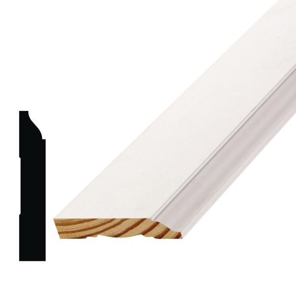 WM 623 9/16 in. x 3-1/4 in. x 144 in. Primed Finger-Jointed Pine Base Moulding Pro Pack (10-Pack)