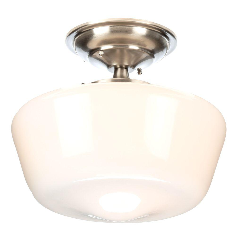 World Imports Luray 12 in. 1-Light Brushed Nickel Semi-Flushmount with Schoolhouse White Glass Shade