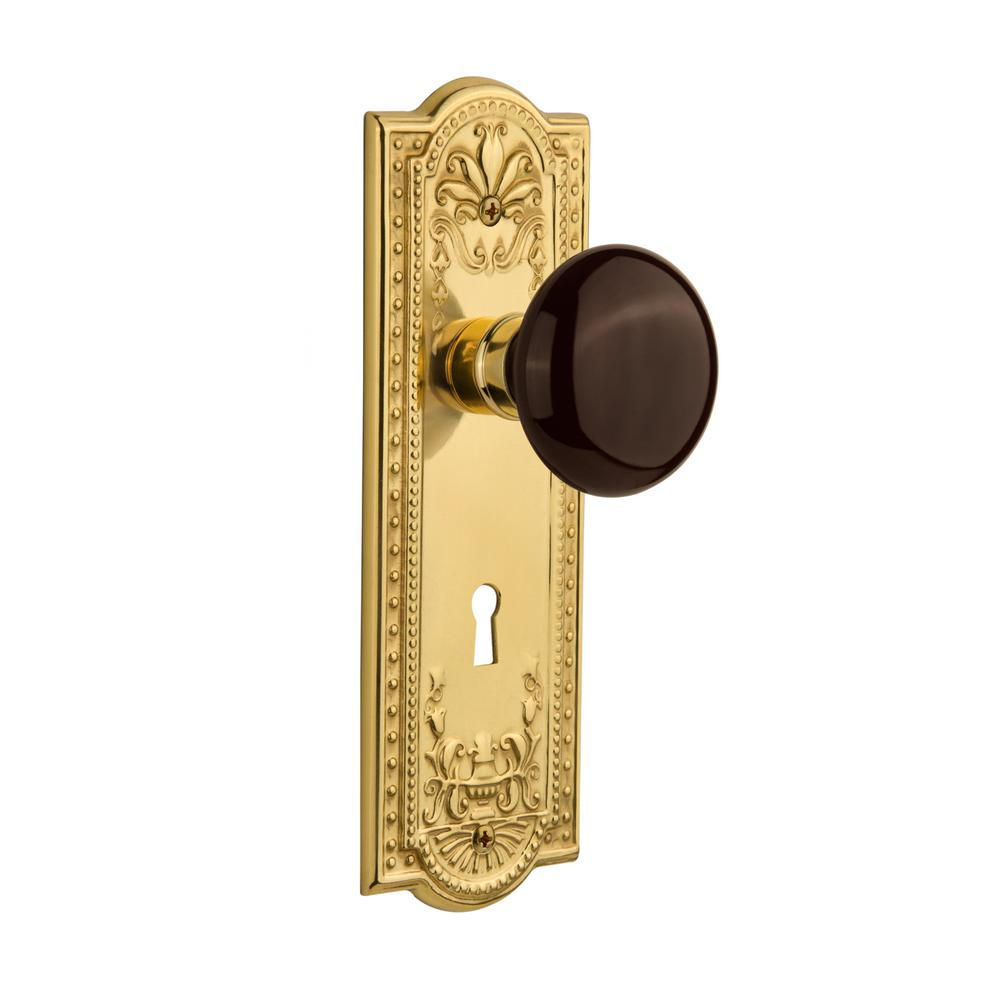 Nostalgic Warehouse Meadows Plate Interior Mortise Brown Porcelain Door Knob  In Unlacquered Brass 703682   The Home Depot