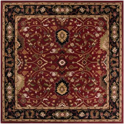 John Red 6 ft. x 6 ft. Square Border Area Rug