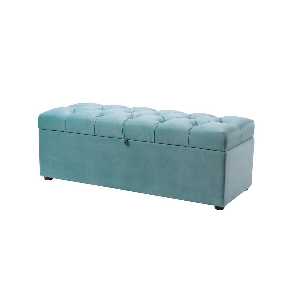 Arlo Tufted Storage Bench Arctic Blue