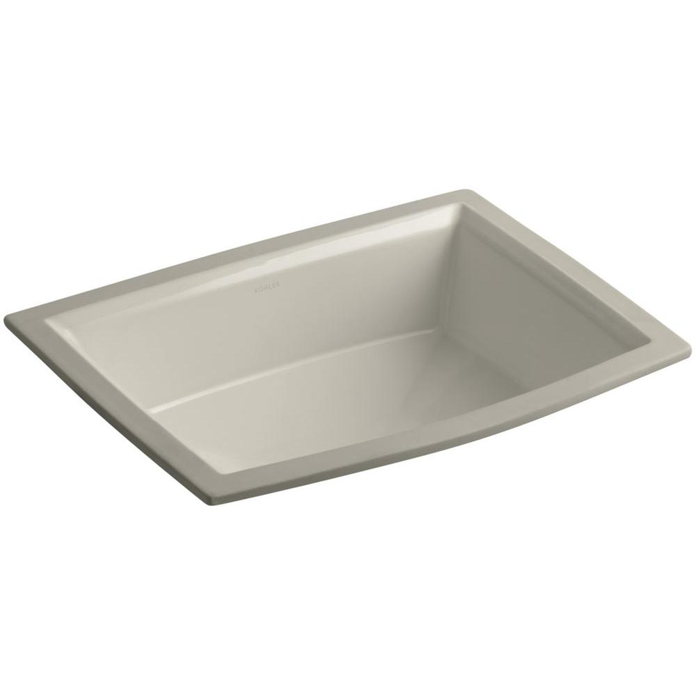 Archer Vitreous China Undermount Bathroom Sink with Overflow Drain in Sandbar