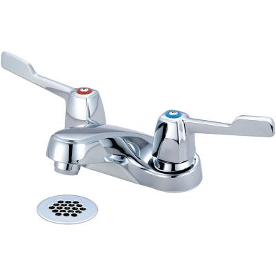 Elite 4 in. Centerset 2-Handle Bathroom Faucet with Grid Drain in Polished Chrome