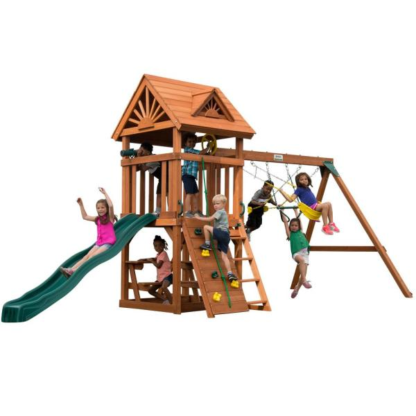 Installed Sky Tower Wood Complete Playset