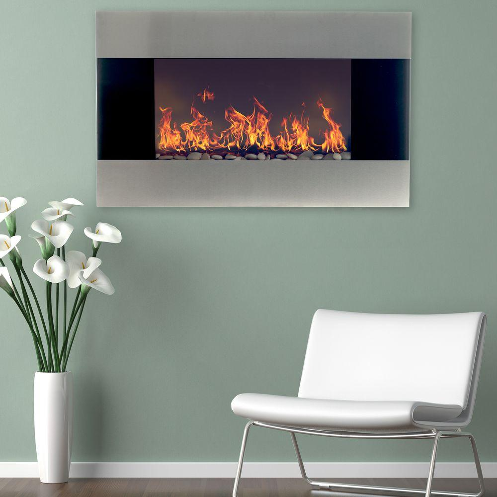 Northwest 35 in Stainless Steel Electric Fireplace with