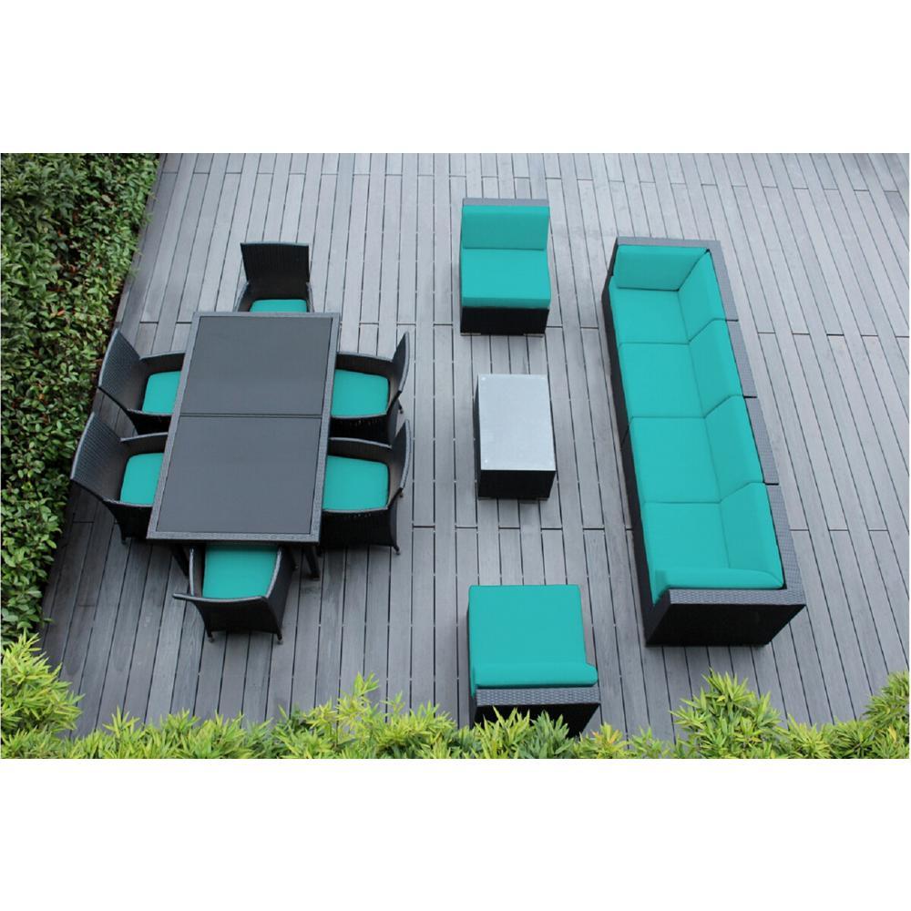 Black 14-Piece Wicker Patio Combo Conversation Set with Sunbrella Aruba Cushions