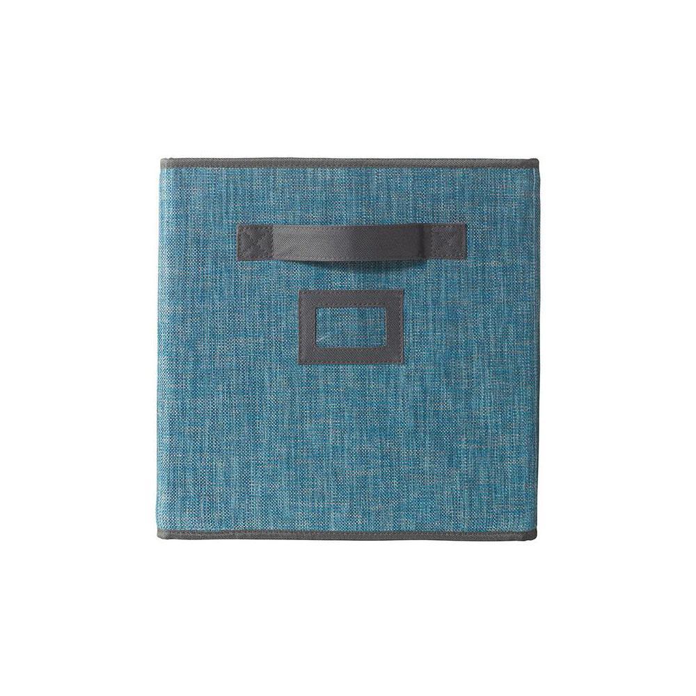 10.5 in. x 11 in. Fabric Glimmer Storage Bin in Nile