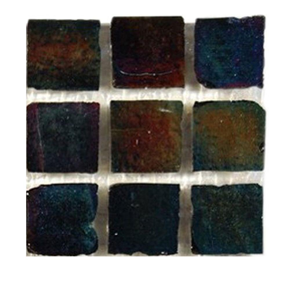 Splashback Tile Iridescent Raven Glass Tile - 6 in. x 6 in. Floor and Wall Tile Sample