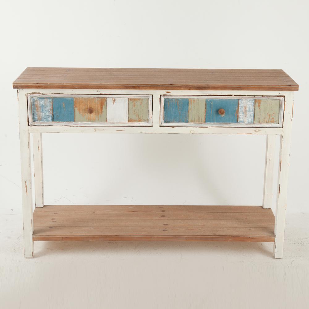 Rustic Multi-Color 2-Drawer Console Cabinet
