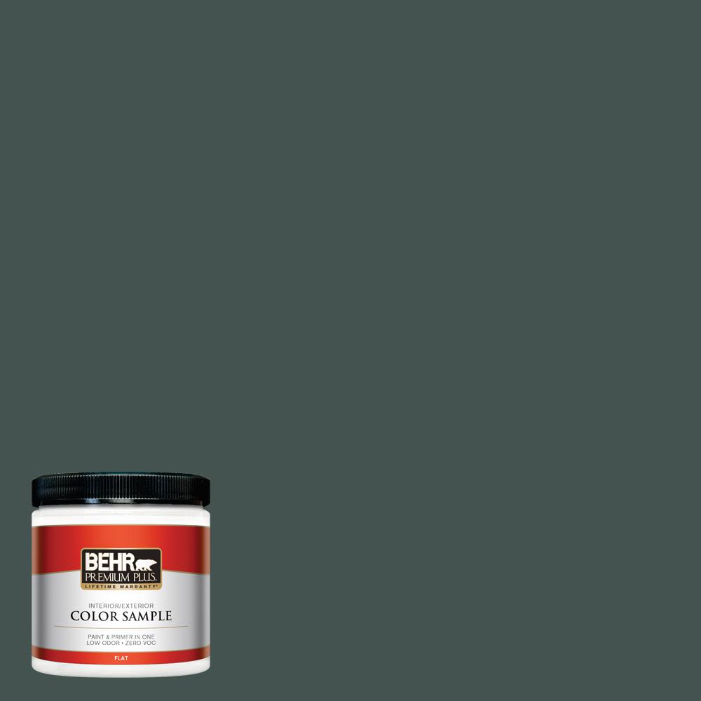 8 oz. #MQ6-44 Black Evergreen Flat Interior/Exterior Paint and Primer in