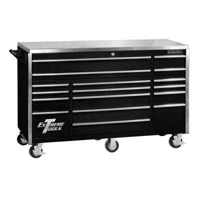 72 in. 17-Drawer Professional Roller Cabinet with Stainless Steel Work Surface in Black
