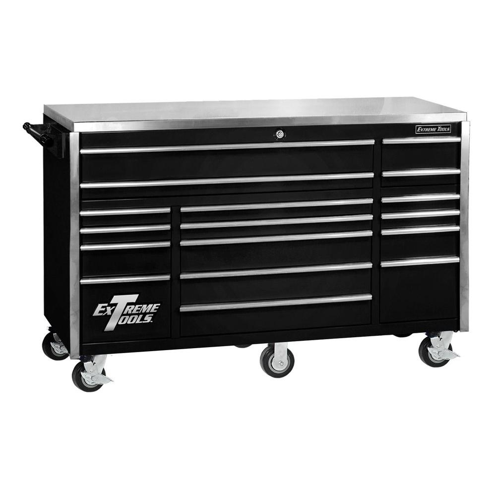 Extreme Tools 72 in. 17-Drawer Professional Roller Cabinet with Stainless Steel Work Surface, Black