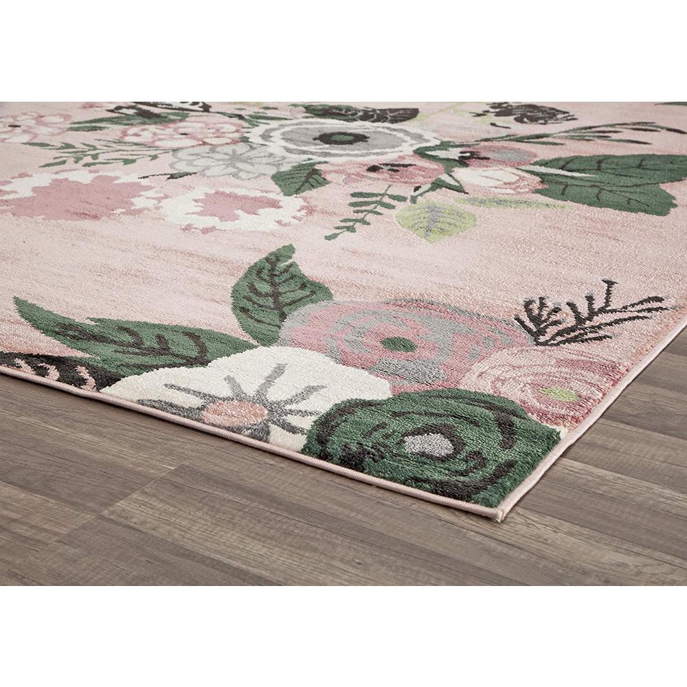 Valentina Rose Garden Pink 8 ft. x 10 ft. Rectangle Oriental Polypropylene Area Rug