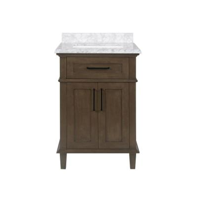 Sonoma 24 in. W x 22 in. D Bath Vanity in Almond Latte with Carrara Marble Vanity Top in White with White Basin