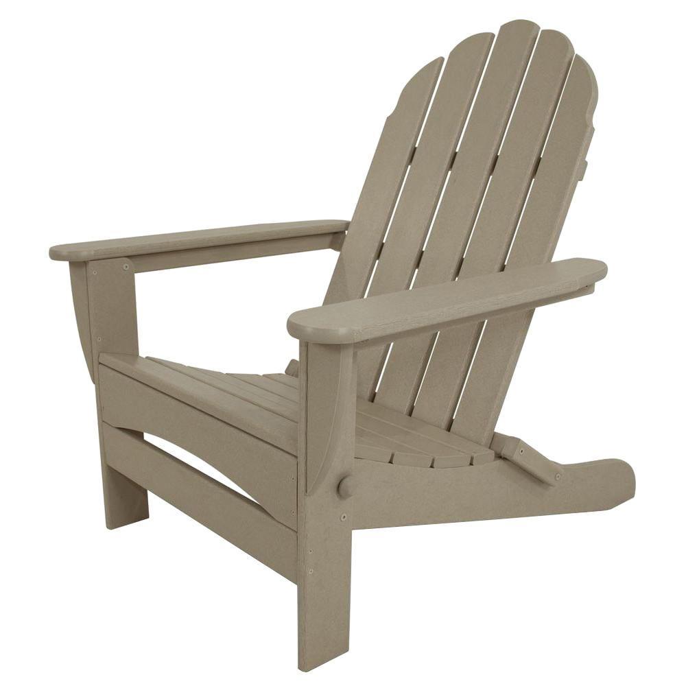 Classic Sand Oversized Curveback Plastic Patio Adirondack Chair