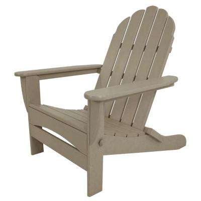 Superior Classic Sand Oversized Curveback Plastic Patio Adirondack Chair