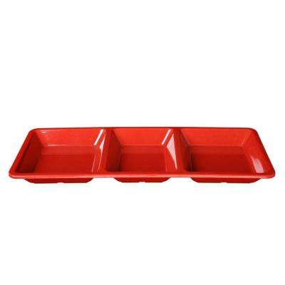 Jazz 28 oz., 15 in. x 6-1/4 in. x 1 3/8 in. Rectangular 3 Section Compartment Tray in Red (1-Piece)