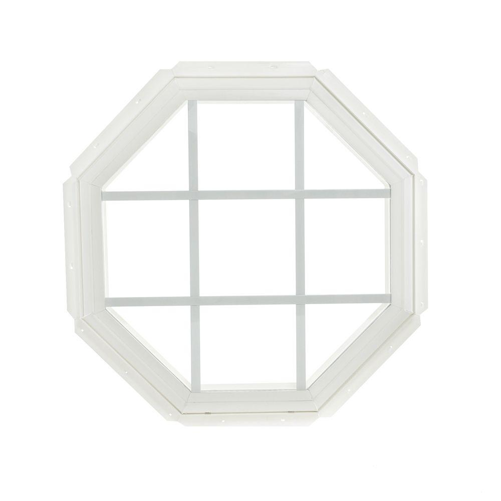 Tafco Windows 22 25 In X Fixed Octagon Geometric Vinyl Window With Grids White