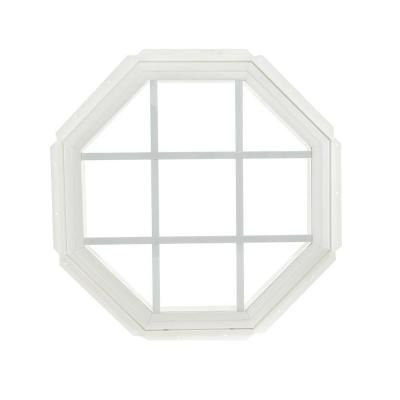 22.25 in. x 22.25 in. Fixed Octagon Geometric Vinyl Window with Grids - White