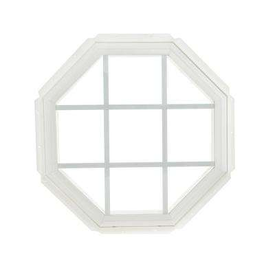22.25 in. x 22.25 in. Fixed Octagon Geometric Vinyl Window - White
