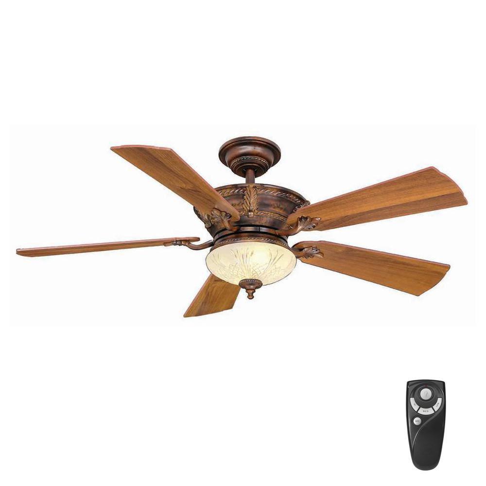 Hampton bay bercello estates 52 in led indoor volterra bronze hampton bay bercello estates 52 in led indoor volterra bronze ceiling fan with light kit mozeypictures Choice Image