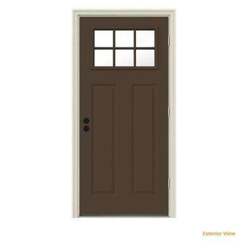32 in. x 80 in. 6 Lite Craftsman Dark Chocolate Painted Steel Prehung Left-Hand Outswing Front Door w/Brickmould