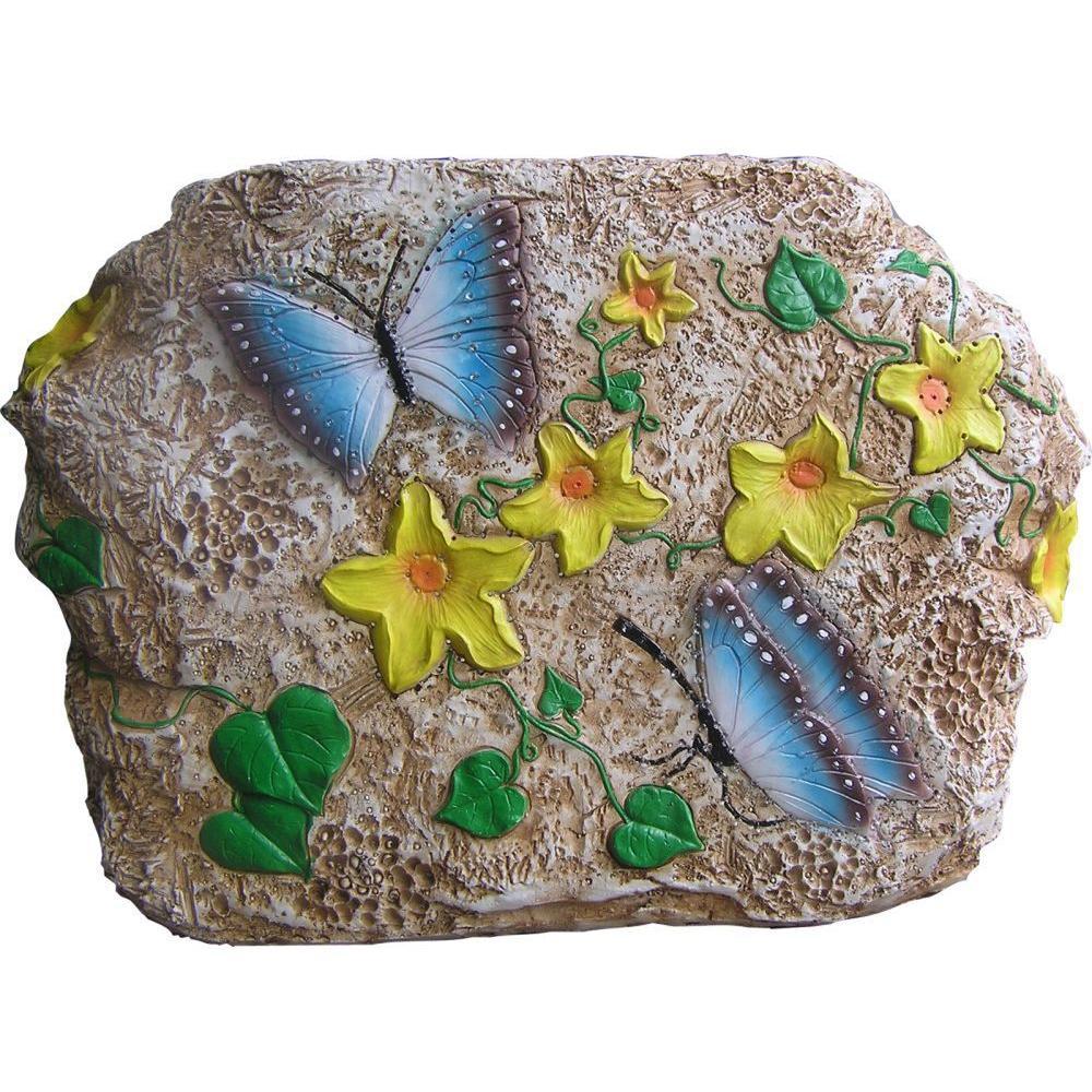 Unique Arts Stone Optics Decorative Animated Solar Rock - New Butterfly - Small Version-DISCONTINUED