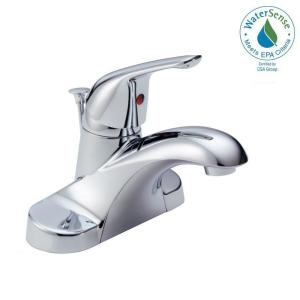 Delta Foundations 4 inch Centerset Single-Handle Bathroom Faucet with Metal Drain Assembly in Chrome by Delta