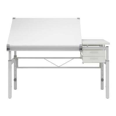 Graphix Height Adjustable Multi-Tasking, Steel Base with MDF Split Top Craft, Drawing, Drafting Table with Storage
