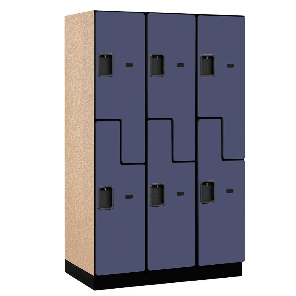27000 Series 2-Tier 'S-Style' Wood Extra Wide Designer Locker in Blue