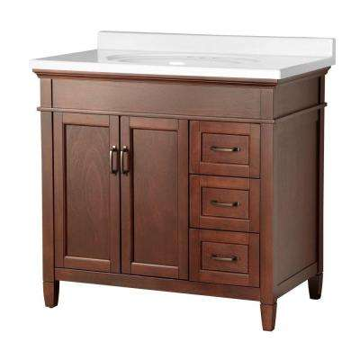 Ashburn 37 in. W x 22 in. D Vanity in Mahogany with Right Drawers with Vanity Top in White