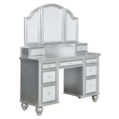 Serena 2-Piece Silver Mirror Panel Vanity Set