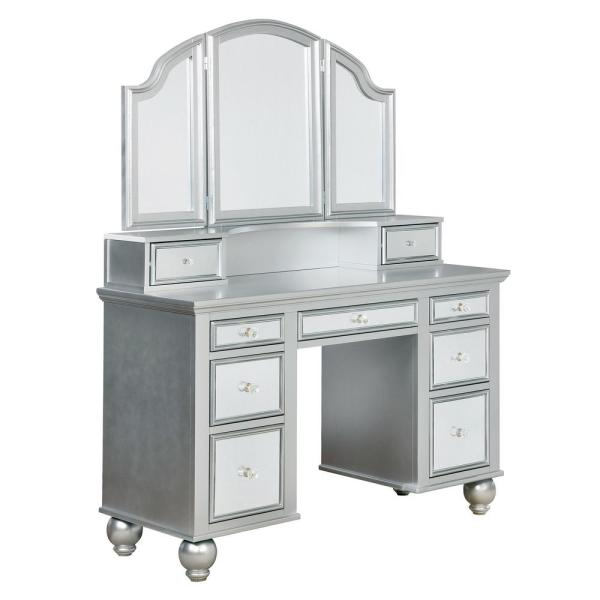 Furniture Of America Serena 2 Piece Silver Mirror Panel Vanity Set