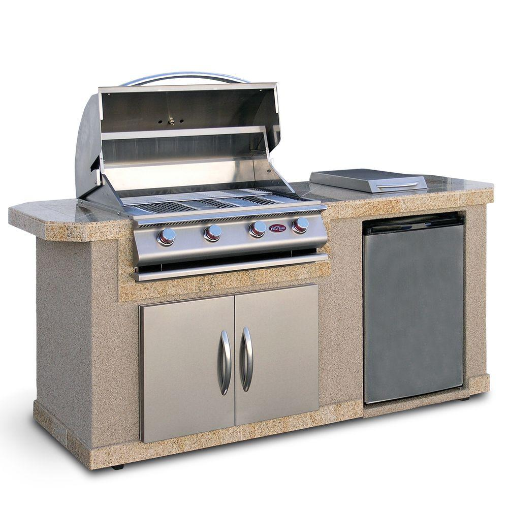 7 ft. Stucco Grill Island with 4-Burner Gas Grill in Stainless