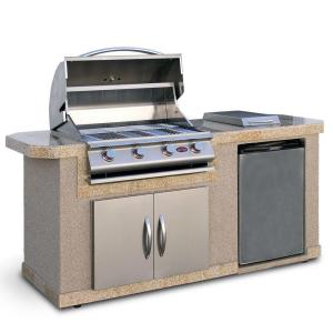 Click here to buy Cal Flame 7 ft. Stucco Grill Island with 4-Burner Gas Grill in Stainless Steel by Cal Flame.