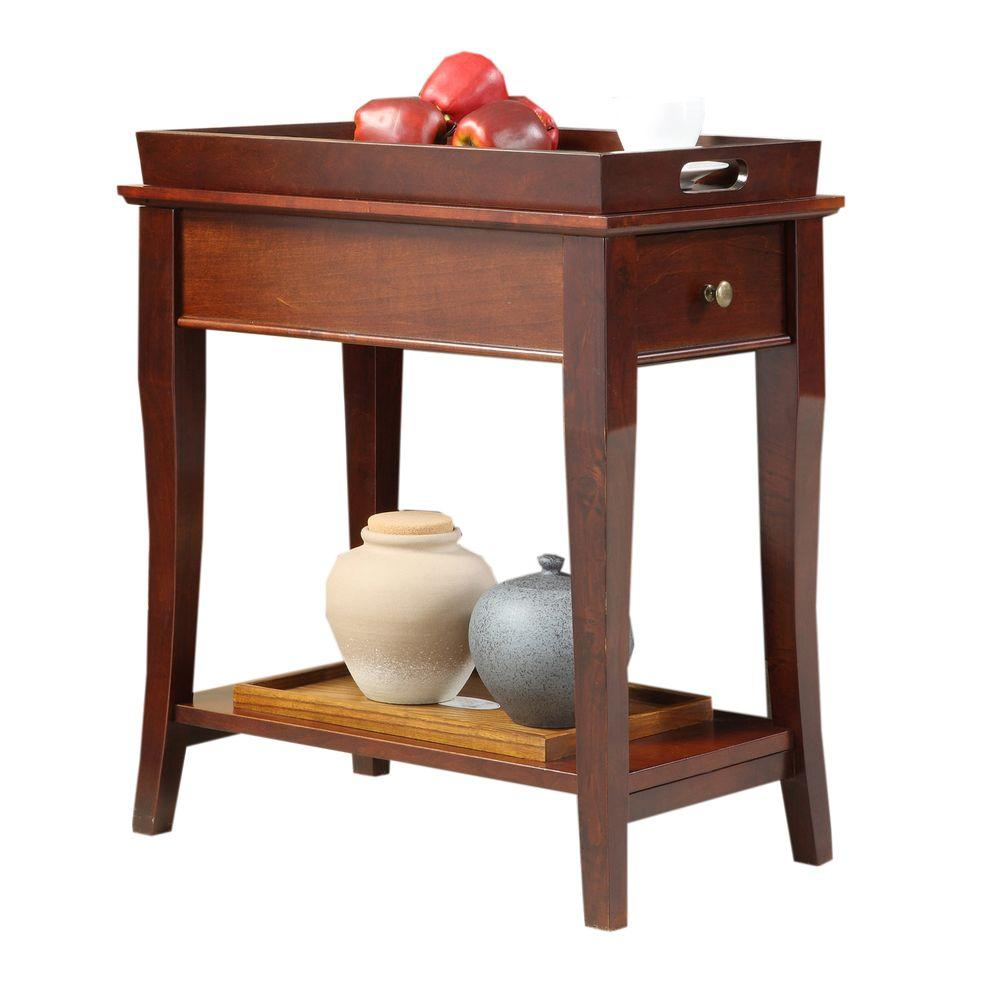 HomeSullivan Cherry Tray-Top End Table with 1-Drawer