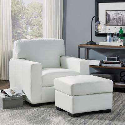 Erin Ivory Faux Leather Ottoman